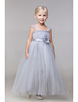 Ball Gown Ankle-length Flower Girl Dress-Rayon Sleeveless