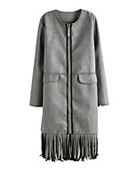 Women's Solid Brown / Gray Coat,Simple Long Sleeve Polyester