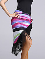 Latin Dance Hip Scarves Women's Performance Viscose Tassel(s) 1 Piece Black / Multi-color Latin Dance