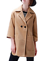 Women's Solid Black / Brown / Green Pea Coats,Simple ¾ Sleeve Polyester