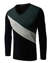 Men's Patchwork Casual T-Shirt,Rayon Long Sleeve-Black / Green / White