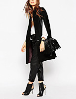Women's Solid Black Trench Coat,Simple Long Sleeve Wool