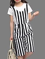 Girl's Black / Blue Clothing Set,Stripes Cotton Summer / Spring