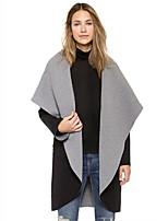 Women's Solid Gray Cloak/Capes,Vintage Long Sleeve Cotton