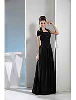 A-line Mother of the Bride Dress-Black Floor-length Chiffon