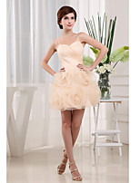 Dress-Champagne A-line Spaghetti Straps Short/Mini Organza