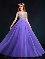 Formal Evening Dress-Lilac Sheath/Column V-neck Floor-length Tulle