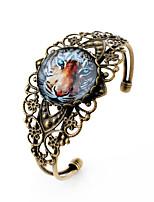 Lureme® Vintage Jewelry Time Gem Series Animals Tigers Antique Bronze Hollow Flower Open Bangle Bracelet for Women
