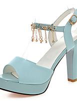 Scarpe Donna-Sandali-Formale / Serata e festa-Tacchi / Plateau / Con cinghia / Aperta-A stiletto-Finta pelle-Nero / Blu / Rosa / Bianco
