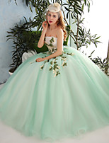 Formal Evening Dress-Lime Green Ball Gown Strapless Floor-length Organza / Tulle