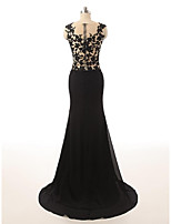 Vestido-preto Evento Formal Sereia Decorado com Bijuteria Cauda Escova Chiffon / Renda / Tule