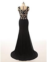 Formal Evening Dress-Black Trumpet/Mermaid Jewel Sweep/Brush Train Chiffon / Lace / Tulle