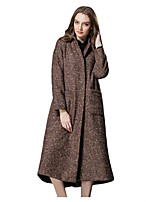 Women's Solid Blue / Brown Pea Coats,Street chic Long Sleeve Polyester