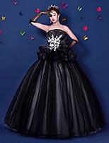저녁 정장파티 드레스-블랙 볼 드레스 바닥 길이 끈없는 스타일 오간자 / 새틴