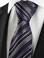 KissTies Men's Striped Purple Black Microfiber Tie  For Wedding Party Holiday With Gift Box