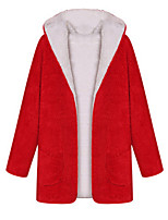 Women's Solid Red / Black Coat,Simple / Street chic Long Sleeve Cotton