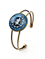 Lureme® Time Gem The Zodiac Series Aquarius Disc Cuff Bangle Bracelet for Women and Girl