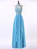 Vestido-Azul Céu Evento Formal Tubinho Gola Alta Longo Chiffon / Renda