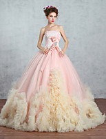 Princess Wedding Dress-Candy Pink Sweep/Brush Train Strapless Lace / Organza / Tulle