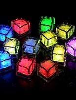 24pcs azul / rojo / verde / rosa / amarillo / RGB / cubos de hielo blanco boda del partido de la luz llevada bar restaurante navidad
