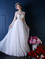 Princess Wedding Dress-White Floor-length Jewel Lace / Tulle