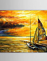 Hand-Painted Abstract / Landscape / Abstract Landscape Modern / European Style Oil Painting , Canvas One Panel