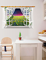 False Window Flowers Florals / Landscape / 3D Wall Stickers 3D Wall Stickers,PVC 90*60cm