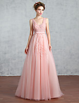 Formal Evening Dress-Pearl Pink A-line V-neck Court Train Lace / Tulle