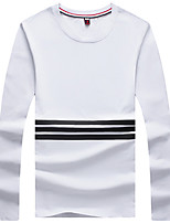 Men's Striped Casual T-Shirt,Cotton / Spandex Long Sleeve-Black / White