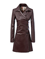 Women's Solid Brown Trench Coat,Simple Long Sleeve PU