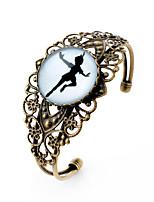 Lureme® Vintage Jewelry Time Gem Series The Girl Dancing Antique Bronze Hollow Flower Open Bangle Bracelet for Women