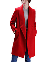Women's Solid Red / Gray Pea Coats,Simple / Street chic Long Sleeve Polyester