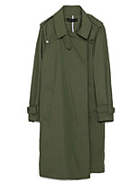 Women's Solid Green Trench Coat,Simple / Street chic Long Sleeve Polyester