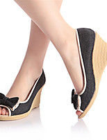 Women's Shoes Denim Wedge Heel Wedges / Heels Sandals Office & Career / Dress / Casual Black / Blue