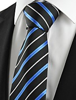 KissTies Men's New Striped Blue Black Microfiber Tie Necktie For Wedding Holiday With Gift Box