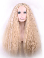 26inch Chemical Fiber High Temperature Silk Flax Long Curly Golden Synthetic Wig Hot Sales