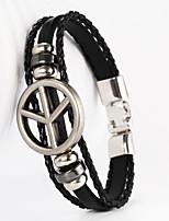 Super Big Peace Sign Shape PU Men's Bracelet
