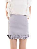 Women's Solid Gray Skirts,Casual / Day Above Knee