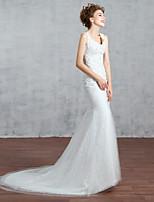 웨딩 드레스-루비 / 화이트 트럼펫/멀메이드 쿼트 트레인 V 넥 레이스 / 스팽글