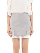 De las mujeres Faldas-Sobre la rodilla Bonito Rígido-Algodón