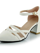 Women's Shoes Leatherette Chunky Heel Heels Heels Wedding / Party & Evening / Casual Black / Blue / White