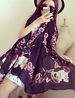 Winter Fashion Morning Glory Flowers Summer Wide Printing Cotton Scarves  Scarf Shawl
