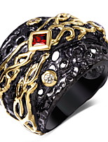 New Women punk Rings Clear & Siam&Topaz Cubic Zirconia Bezel Setting 18K Gold & Black Plated Ring