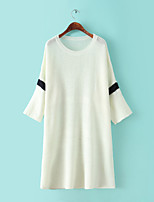 Women's Patchwork White / Black Pullover,Simple Short Sleeve