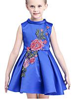 Girl's Blue / White Dress Cotton / Polyester Summer