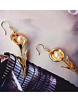 High quality 18K gold plated flower inlaid Pearl Earrings