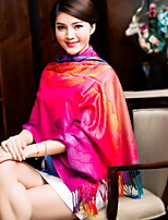 Colorful Peony Flower Ethnic Art Fan Cotton Scarves Large Shawl(Random Color)