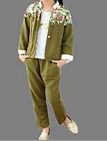 Girl's Green / Red Clothing Set,Floral / Cartoon Cotton Summer / Spring