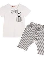 Girl's White Clothing Set Cotton Summer