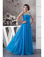 Formal Evening Dress A-line Jewel Floor-length Chiffon with Beading / Draping